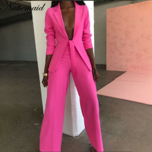 NATTEMAID Solid Formal 2 Piece Set Women Top And OL Business Pants Suits Outfits Sexy