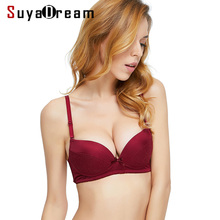Women Silk Bra 100%Natural Silk Lining 3/4 CUP Wire Free Push up Bras for Women Padded Lace Bra Everyday