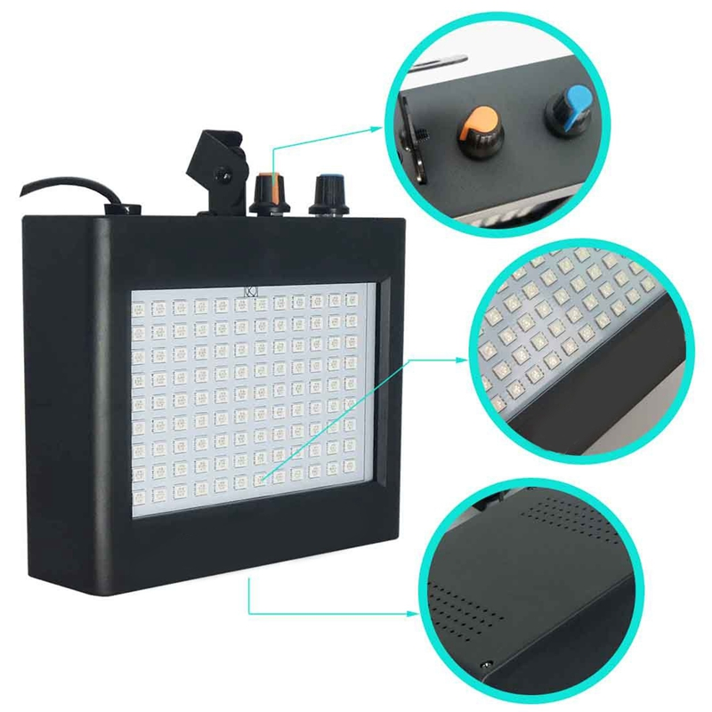 Image 4 - 180 Leds Strobe Flash Light Portable 35W Rgb Remote Sound Control Strobe Speed Adjustable For Stage Disco Bar Party Club(Eu Pl-in Stage Lighting Effect from Lights & Lighting on