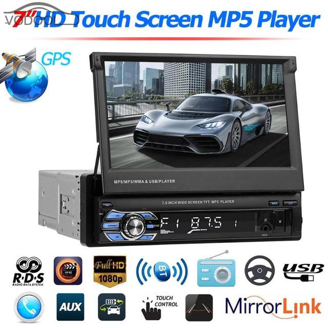"""VODOOL Foldable 7"""" Touch Screen Car Stereo MP5 Player 1080P HD GPS Navigation Bluetooth Video Audio RDS AM FM Radio Media Player"""
