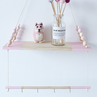 Double Layer Wood Hanger For Baby Kids Cloth Racks Christmas Gifts Baby Room Wall Wooden Shelf Wall Hanging Decorations