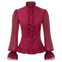 Женские топы в стиле стимпанк, викторианский стиль, с длинным рукавом, со стоячим воротником, украшенная рюшами, рубашка в винтажном стиле, ретро, элегантные вечерние, Готическая блузка для девушек