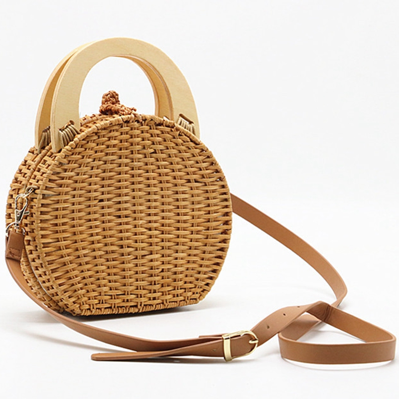 Straw Handbag Women Wooden Hand-Woven Top-Handle Beach Bag Circular Knitting Bags Travel Tote Straw Bags For Women Crossbody Bag