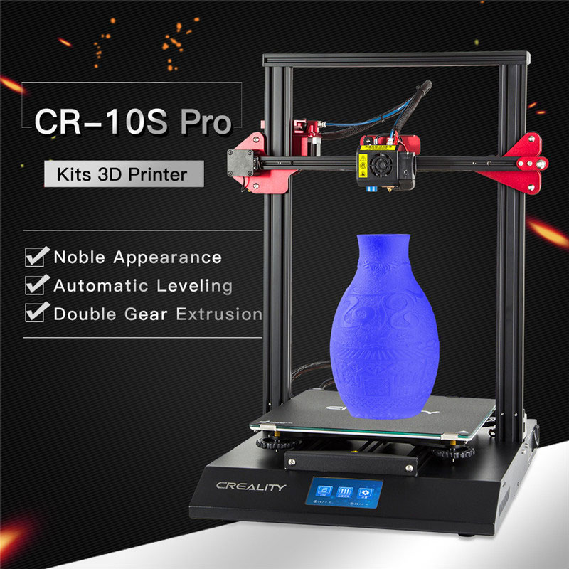CREALITY 3D Auto Nivellement CR-10S Pro Imprimante Tactile LCD Double Extrusion Reprendre Impression Filament Détection Funtion