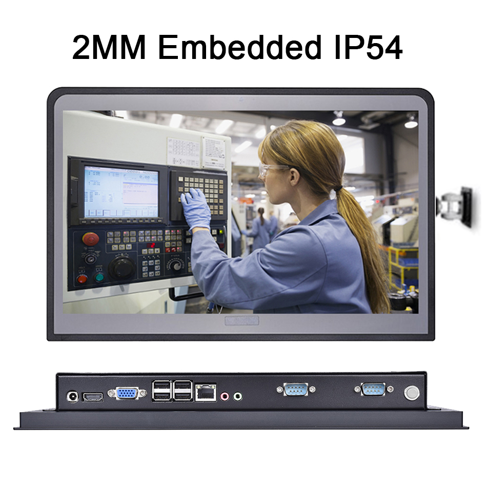 14 Inch 2MM Embedded IP54 Industrial Panel PC,10 Points Capacitive All in One Touch,Intel Core I5,Windows10/Linux,[HUNSN DA10W]