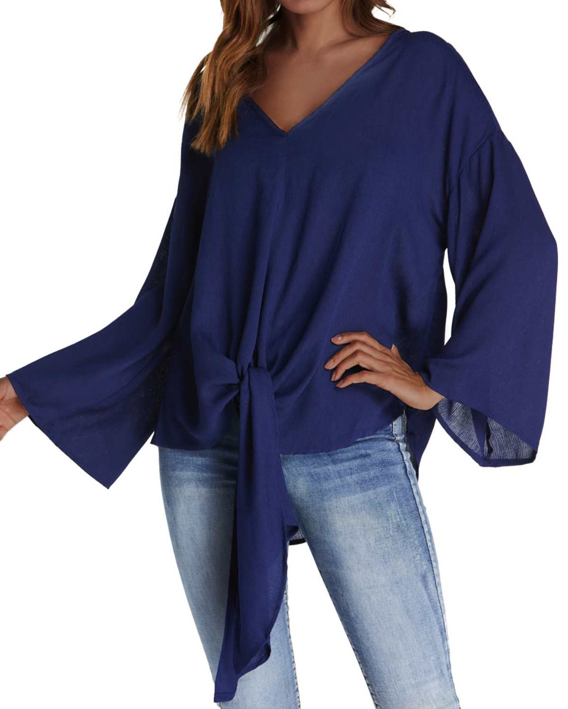 2019 Spring Women Chiffon Blouse Shirt ZANZEA Casual Solid Color Long Pullover Tops Loose Sexy V-Neck Bat Sleeve Shirts Big Size