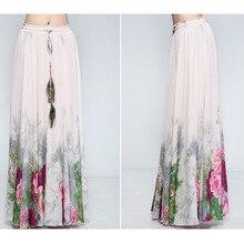 Chiffon Bohemian Skirts Womens Summer Print Vintage Fashion Flower Ethnic Skirts A-Line Boho Long Maxi Skirt Beach Clothes цена