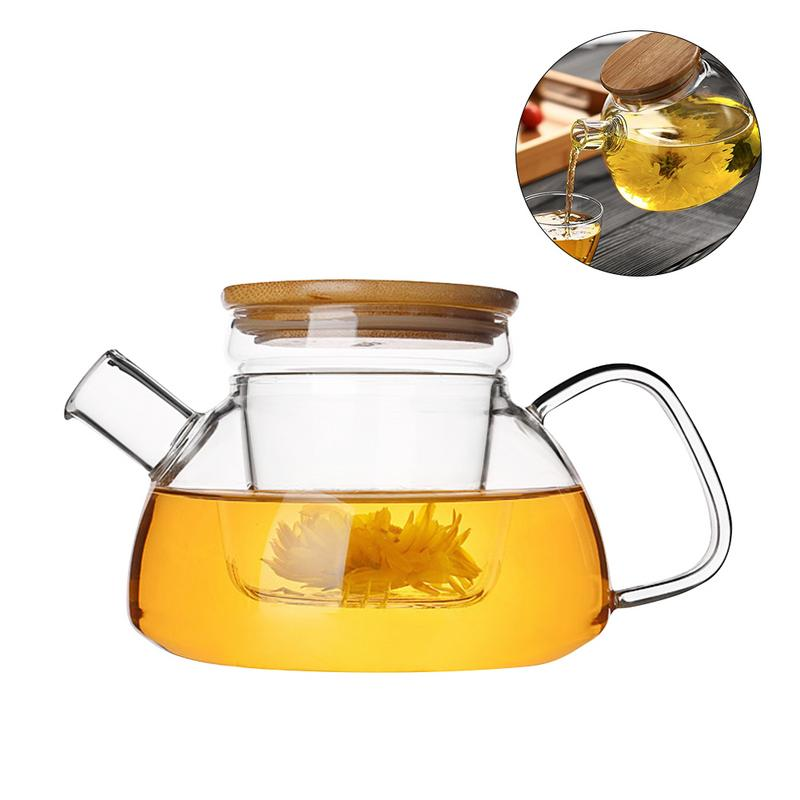Teapot Heat Resistant Glass Teapot Bamboo Lid Filter Liner Kettle Stylish Flower Green Tea Glass Teapot Drinkware