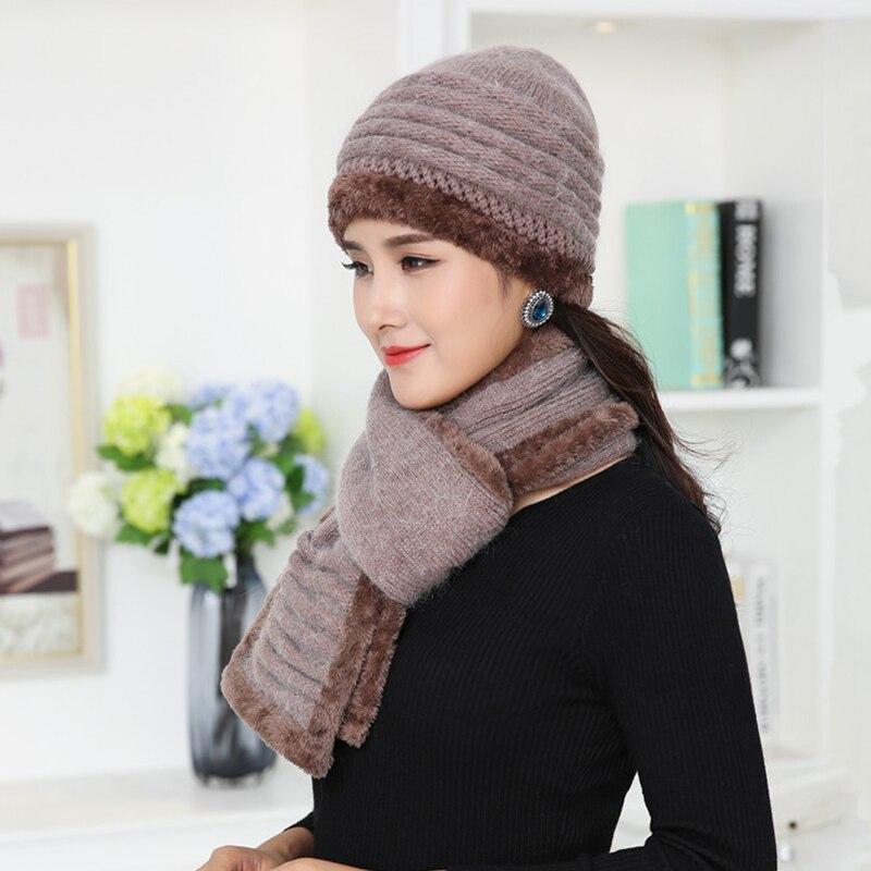 Evrfelan Fashion Knitting Winter Hat Scarf Women Thick Warm Hat   Skullies     Beanies   Female   Beanies   Hat Cap Scarves High Quality