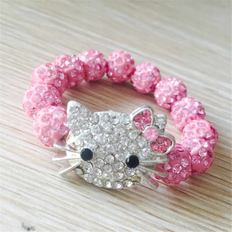 Kids Kitty Cat head Crystal Bracelets For Children Cute Shamballa Bracelet Bangles Strand Bracelets For Girls Jewelry Gift