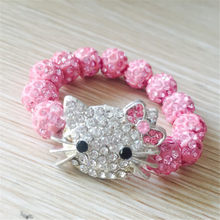 Kids Kitty Cat head Crystal Bracelets For Children Cute Shamballa Bracelet Bangles Strand Bracelets For Girls Jewelry Gift(China)