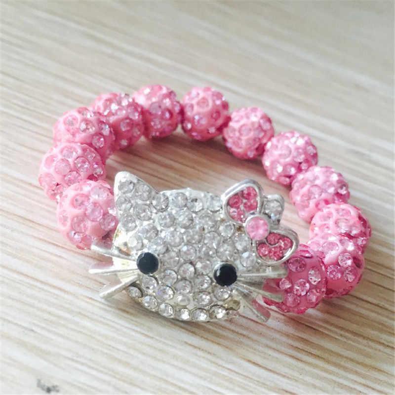 Kristal kız bilezik çocuk şeker renk karikatür Kitty kedi kafa bilezik güzel bilezik tatlı çocuk bilezik yılbaşı hediyeleri