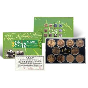 China 5 Yuan10 PCS Commemorative Coins, Panda, tiger, Monkey, crane, 1993-99, Rare Wild Animal, UNC, Original Genuine Asian