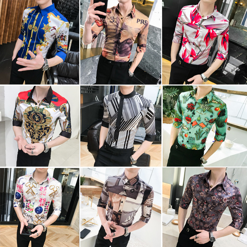 Image 4 - High Quality Fashion Summer Slim Fit Dress Shirts Male Half Sleeve Print Hairstylist Work Shirt Man New Pattern Tuxedo Shirt Men-in Casual Shirts from Men's Clothing
