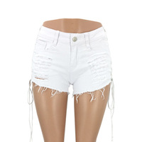 2019 Plus Size Women Summer Sexy Ripped Hole Low Waist Denim Shorts Fashion Frayed Lace Up Jeans Shorts