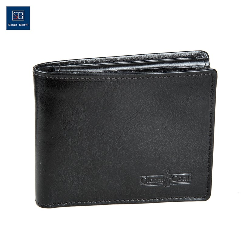 Coin Purse Gianni Conti 907018 black simline vintage genuine crazy horse cow leather men men s long hasp wallet wallets purse zipper coin pocket holder with chain