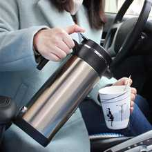 1200 ml 12 V נירוסטה רכב מתאם חשמלי מחומם ספל מים בקבוק קפה מחומם קומקום לא רעיל לשפוך הוכחת נעילה