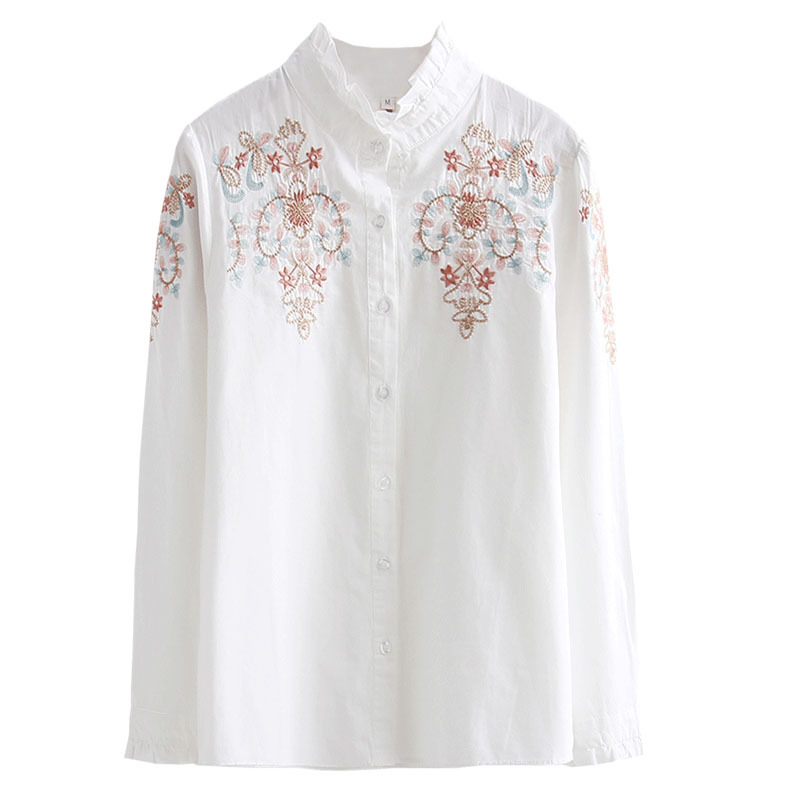 2019 Spring Autumn Women Summer Floral Embroidery Blouses Sexy Shirt Blusas Feminina Casual Elegant Tops in Blouses amp Shirts from Women 39 s Clothing
