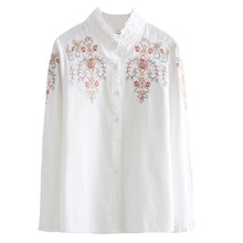 2019 Spring Autumn Women Summer Floral Embroidery Blouses Sexy Shirt Blusas Feminina Casual Elegant Tops