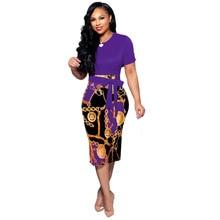 Fashion Vintage Chain Printed Dress Women Patchwork Lace Up Pencil Dress 2019 Summer Casual Lady Zip Short Sleeve Midi Dress цена