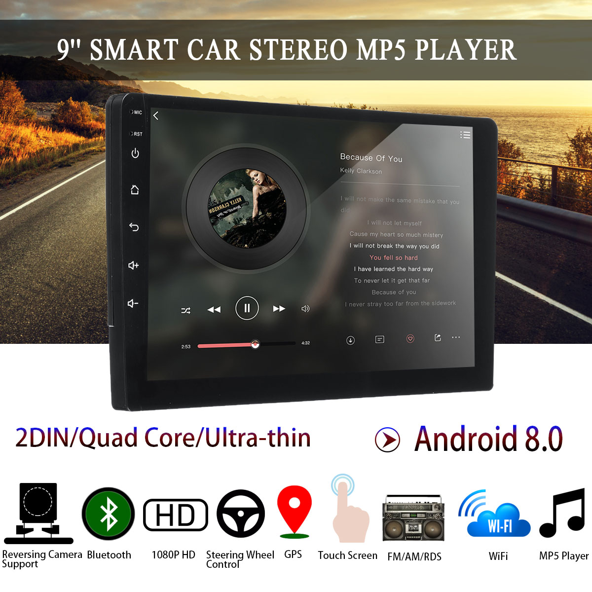 Car Multimedia Player 9'' 1G+16G Car Stereo 2 DIN for Android 8 bluetooth WIFI GPS Nav Quad Core Radio Video MP5 Player