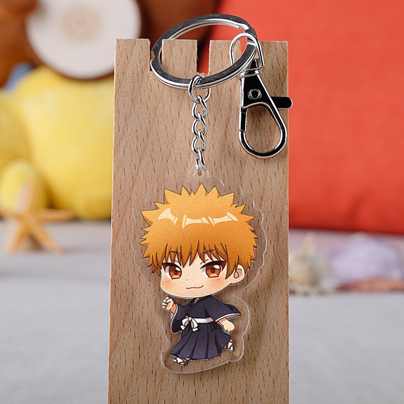 Japan Anime BLEACH White Kurosaki ichigo Acrylic Key Ring Pendant Keychain Gift