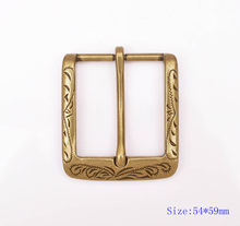 54X59MM (Inner 40MM ) Retro Flower Carved Antique Brass Prong Pin Buckle Men Leather Belt Buckle