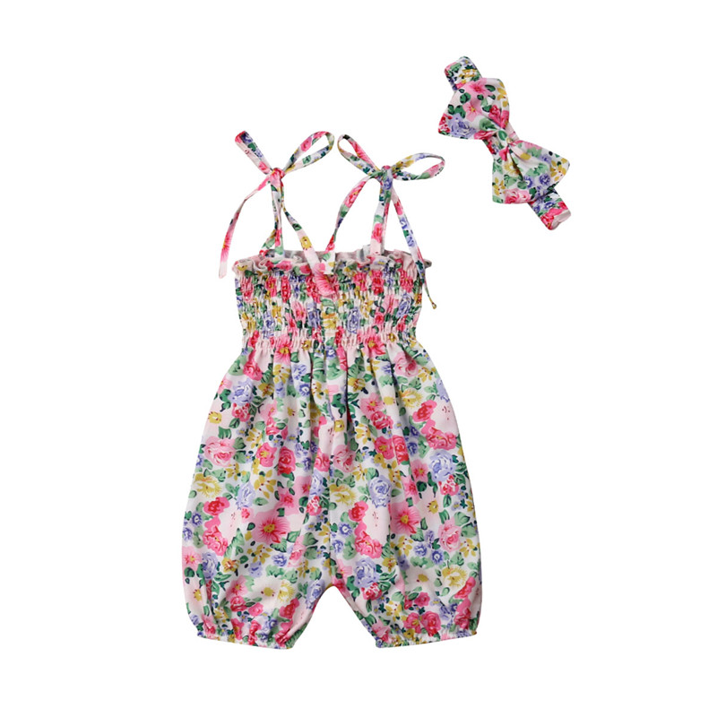 2PCS Newborn Baby Girl Summer Floral   Romper   Jumpsuit Strap Lace Up Outfits Sunsuit Headband