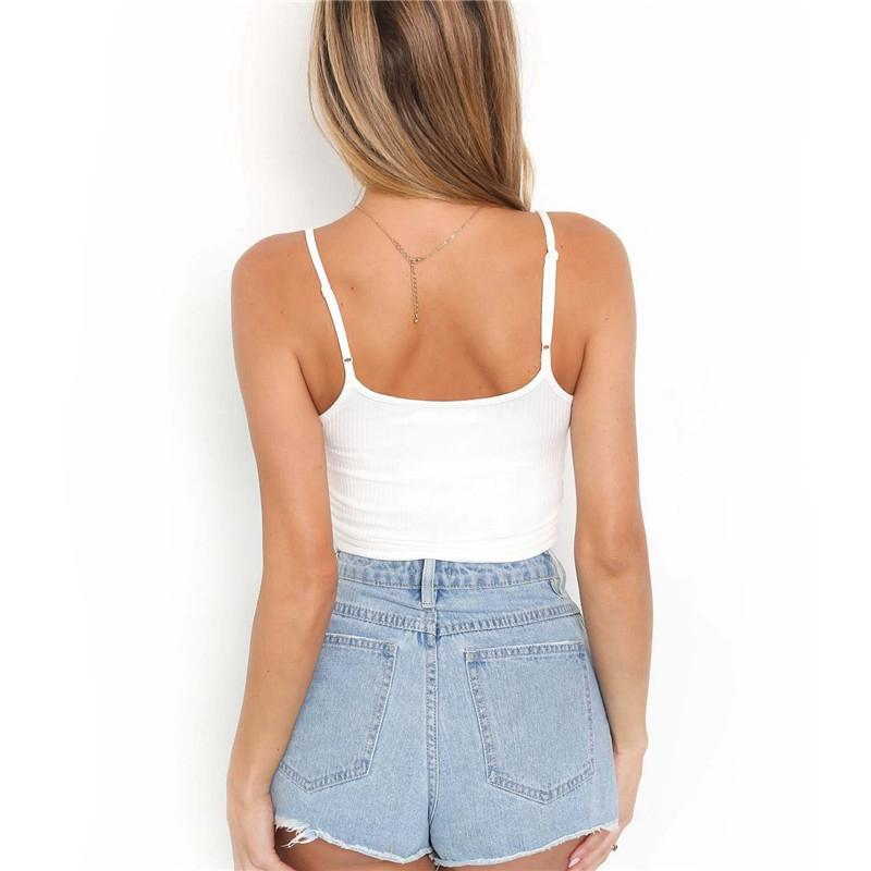 Europe America Sexy Small Vest Sling Embroidery Letter Embroidery Crop Top Tight-fitting Low-cut Sexy Camisole Large Size Bottom