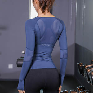Top-Mesh T-Shirt Gym-Tops Sport-Wear Long-Sleeve Fitness Yoga Gym Women Black Woman Blue
