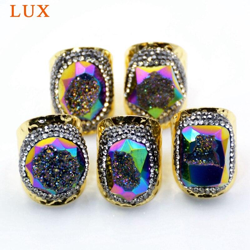 5 pièces élégant anneau de bande de lunette en or naturel Agates Druzy arc-en-ciel pierre gemme anneau pavé de strass à la main Geode bijoux anneau