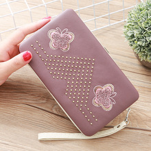 Towel Embroidered Ladies Wallet Long Cute Butterfly Japanese And Korean Lunch Box Wallet Women's Clutch Bag Mobile Phone Bag cute dolphin style mobile phone wallet bag decoration deep pink white