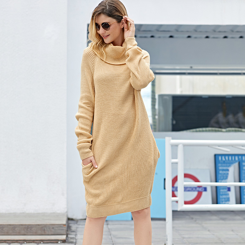 Autumn Winter Knitted Women New Womens Fashion Turtlenecks Pullover Casual Solid Sweaters Long Knit Sweater Skirt 3 Colors