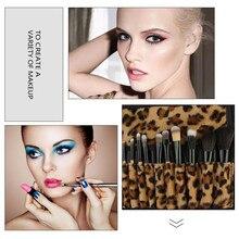 12PCS Makeup Brushes Set Podwer Foundation Blush Eyeshdow Lip Wooden Brush Sexy Leopard PU Case Beauty Cosmetic Tool Kits