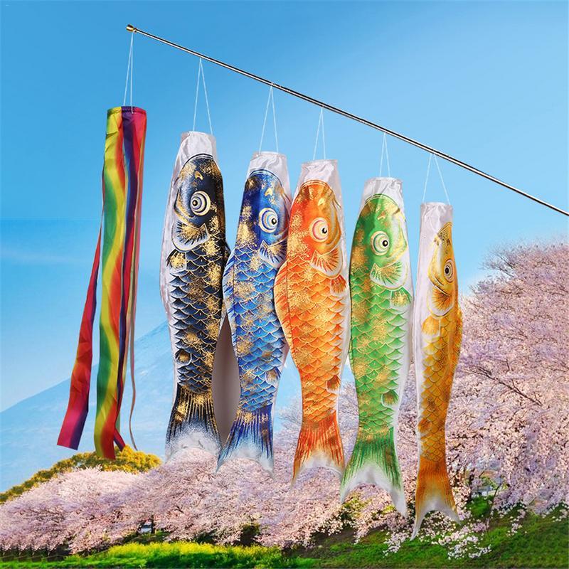 3D Cartoon Colorful Fish Flag Koi Nobori Kite Carp Banner Japanese Restaurant Carp Spray Windsock Streamer 70cm 110cm