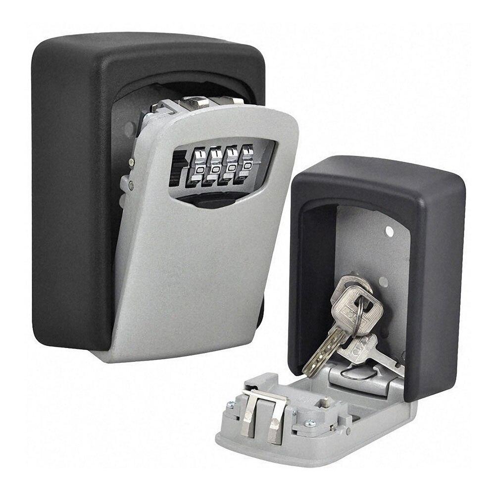 Durable Wall Mounted Key Safe Storage Box Organizer Indoor Outdoor Security 4 Digit Combination Password Secret Key Case