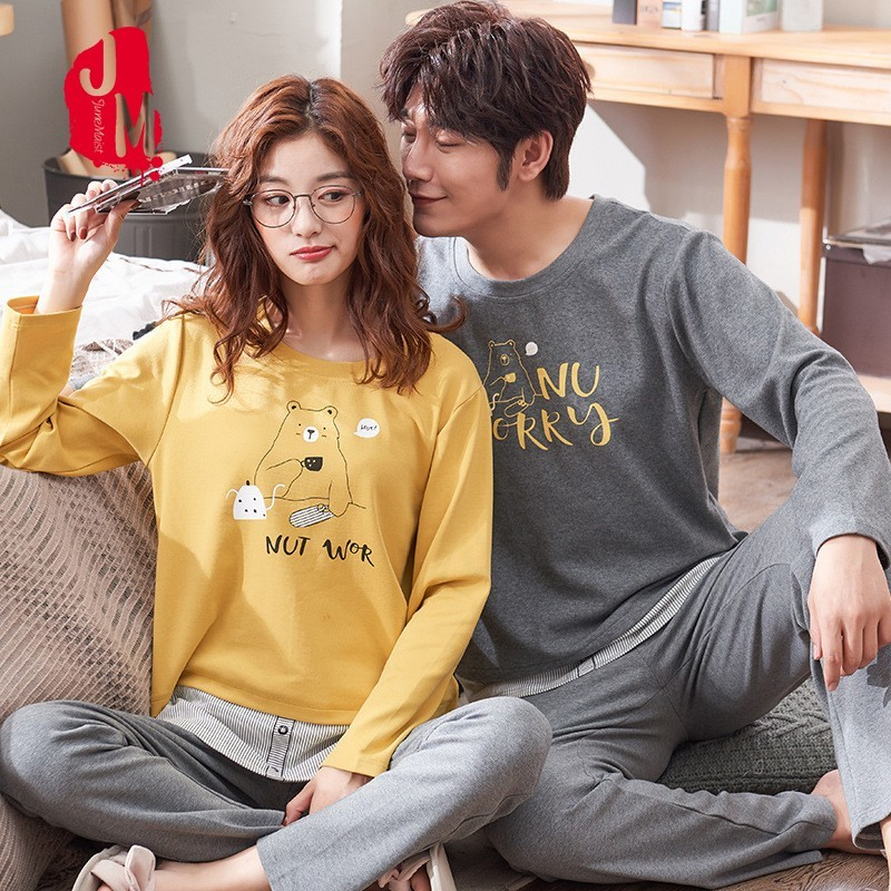 Sleepwear Men Long Sleeve Solid Cartoon Pajamas Set Male Full Sleepwear Pajama Man Pyjamas Men Winter Pijama Male Sleep XXL XXXL