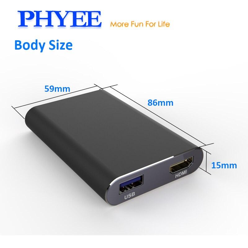 PHYEE USB Miroir Lien Voiture Dongle Écran Boîte De Mise En Miroir Plug and Play Audio Vidéo Adaptateur MLC600 HDMI CVBS pour iPhone Android Téléphone - 5