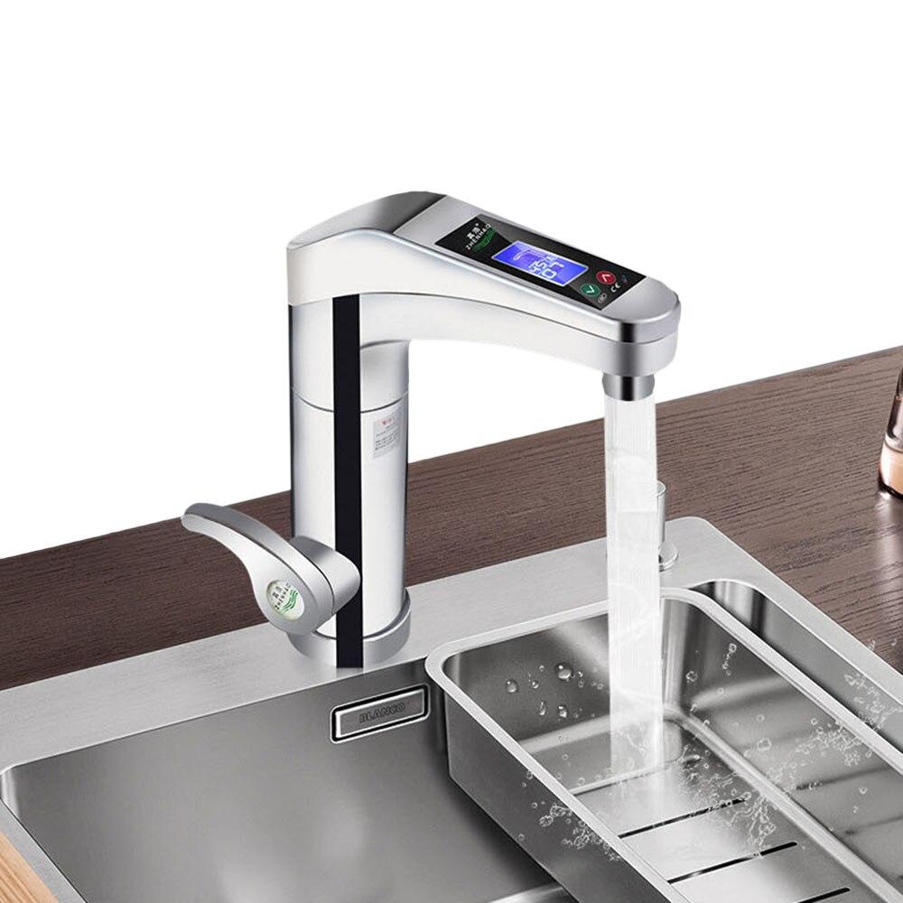 500-3500W grand écran tactile chauffe-eau électrique rotatif robinet d'eau robinet instantané chaud et froid pour salle de bains cuisine - 3