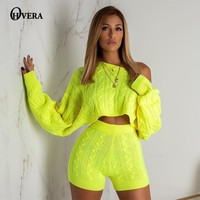 207352987b86 Ohvera Sweater Two Piece Set Knitted Long Sleeve Crop Tops And Bodycon  Shorts Suit Winter Sexy