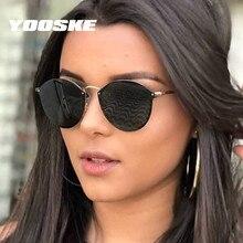 YOOSKE Brand Round Sunglasses Women Vintage Rimless Sun Glas