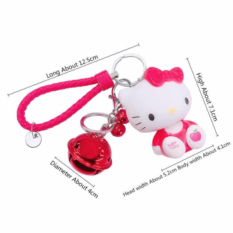 Olá Kitty Cat Novo Casal Bonito Anel Chave Titular Sino Presente do Estudante Criança Boneca Chaveiro Pingente Chaveiro Acessórios Femininos SL106