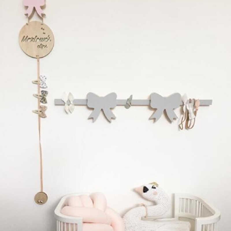 Nordic styl uchwyt drewniany ściana z drewna wiszące wisiorek Ornament dla dzieci organizator pokoju fotografia rekwizyty dziewczyny księżniczka wystrój pokoju