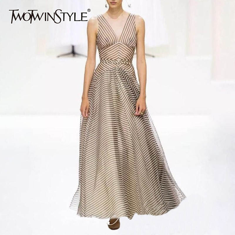 TWOTWINSTYLE Summer Sleeveless Striped Dress For Women V Neck Off Shoulder High Waist Ankle Length Dresses Female Fashion 2019-in Dresses from Women's Clothing    1