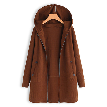 2019 Knitted Cardigans Hooded Coats Women's Jackets Female Long Sleeve Solid Patchwork Coat Outwear Femme Top Overcoat Oversized