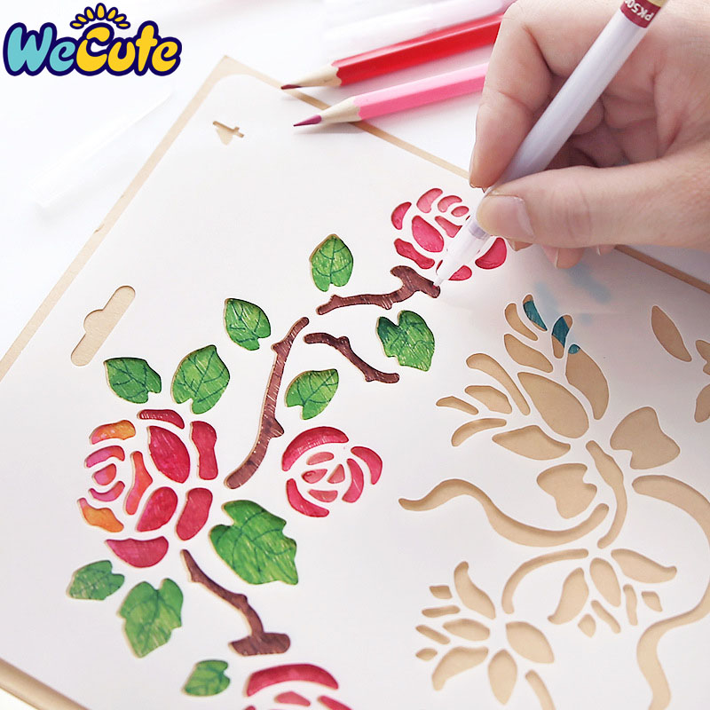 Wecute Hand Drawing Stencil Tools Kids Toys DIY Photo Album Novelty Educational Creative Children Various Styles Art Supplies