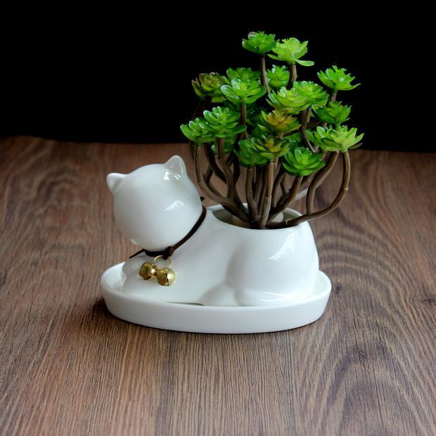 Ceramic Small Cat Flower Pot White Horse Flowerpot Planter Succulents Plant Desktop Garden Glazed Pots For Flowers