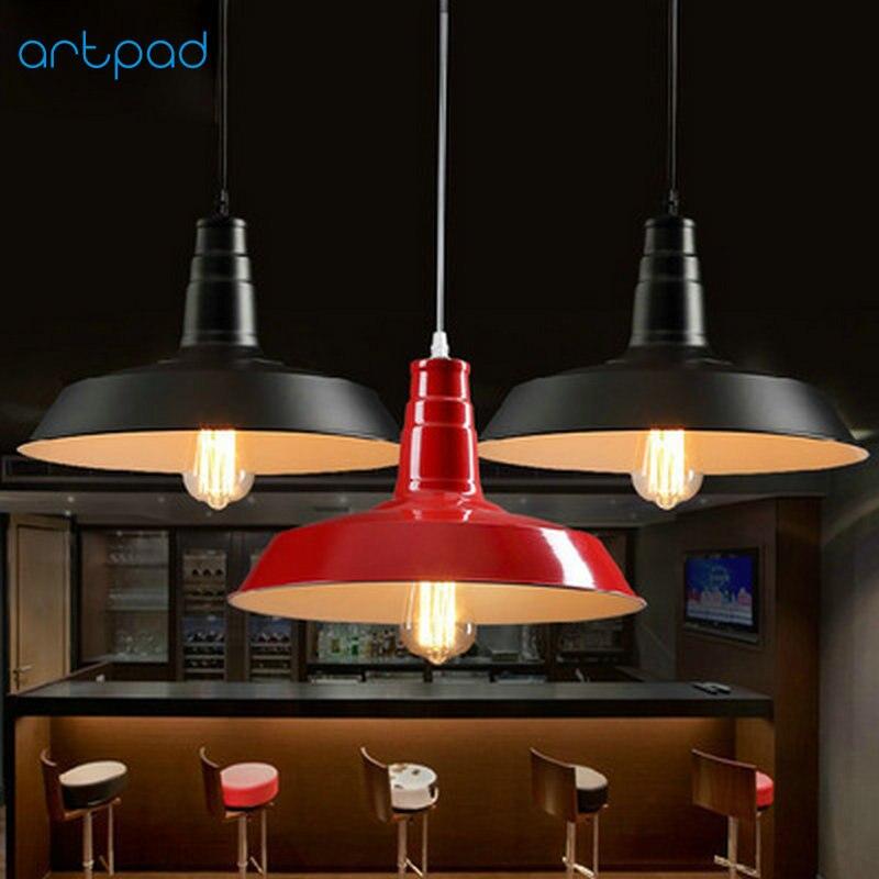 Artpad North Europe Iron Vintage Industrial Pendant Light Dining Room Kitchen Bar Hotel Study LED Lighting Fixtures White Black
