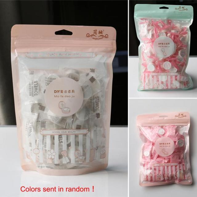 50 piezas de toallitas húmedas toalla mágica comprimido belleza limpieza lavar Toalla de cara mini desechable toallas #1129