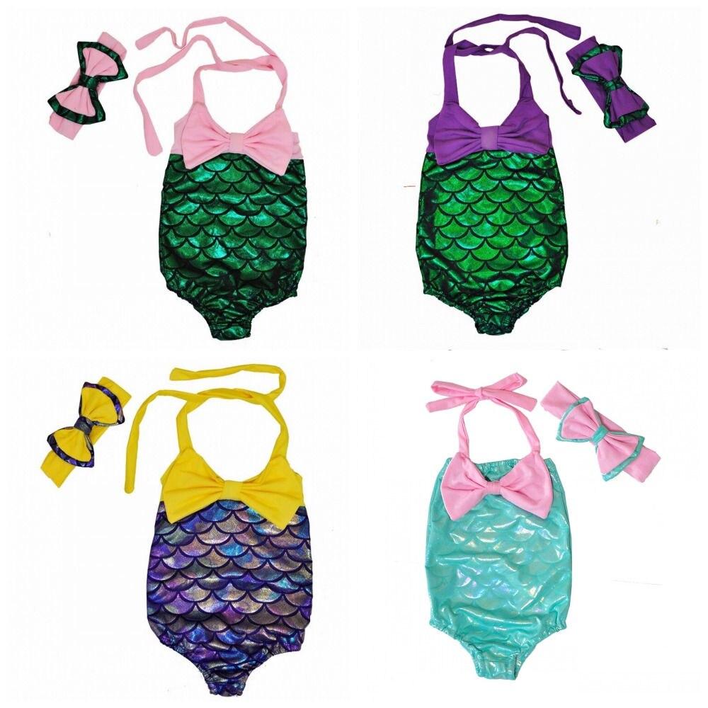 Kinder Einteiler Stirnband Ausverkauf Sommer 2019 Prinzessin Meerjungfrau Kinder Mädchen One-piece Tankini Badeanzug Bademode Bade Suitsuit 2-7y